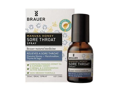 Brauer Adult Manuka Honey Sore Throat Oral Spray 20mL