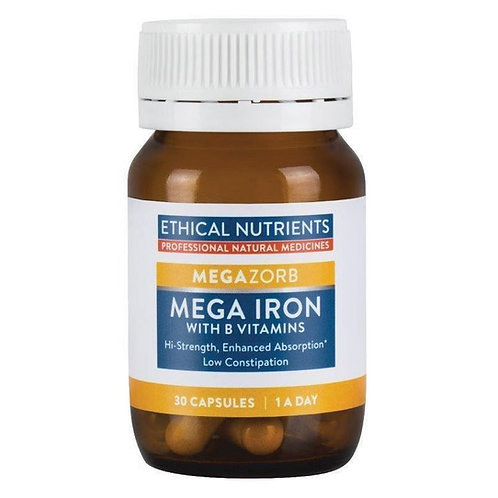Ethical Nutrients MEGAZORB Mega Iron with Activated B Vitamin 30 Capsules