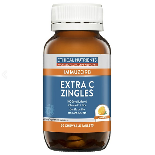 Ethical Nutrients IMMUZORB Extra C Zingles Orange| 50 Tablets