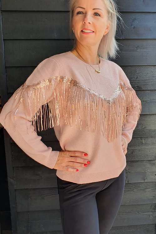 Sweater Paillet Pink