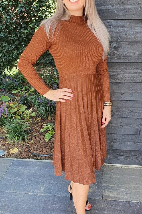 Dress Plisse Sparkle Rusty Brown