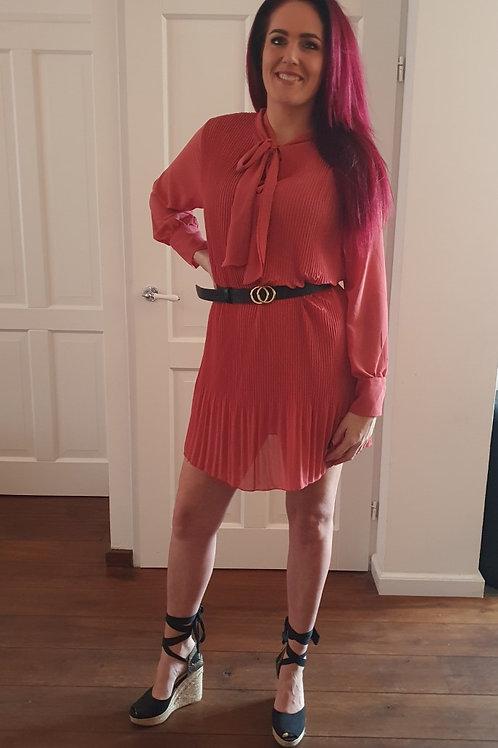 Bow Dress Dark Salmon Red