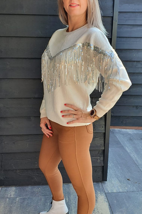 Sweater Paillet White