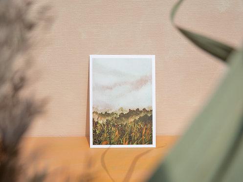 Dusty yellow field | postcard