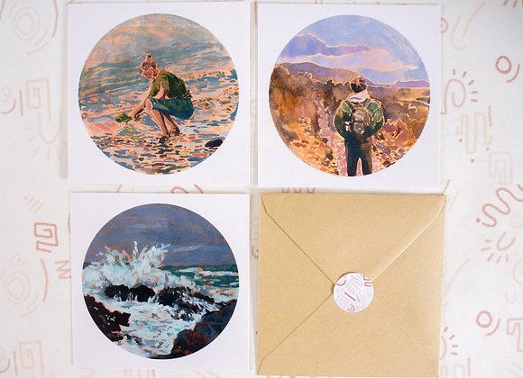 'Wanderous' set of 3   postcard + sticker