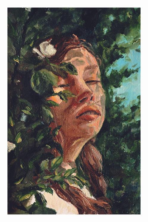 Girl in oils | postcard