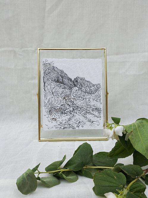 Mountain of the Gods/originele  inkttekening