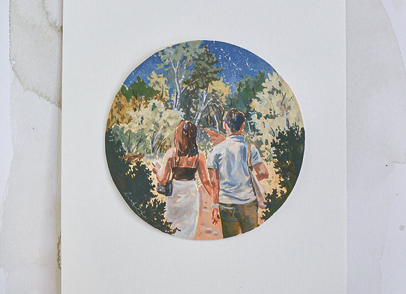Circular gouache commission - loose realism