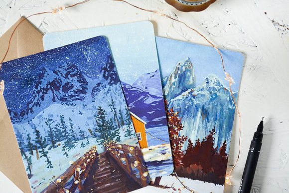 Winter wonderland set | fine-art postcards