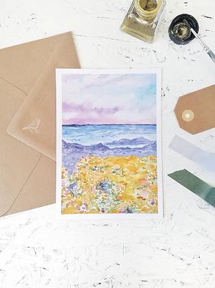 Colorful coast   postcard