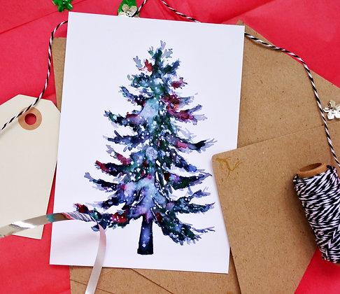 Festive tree | illustrated postcard