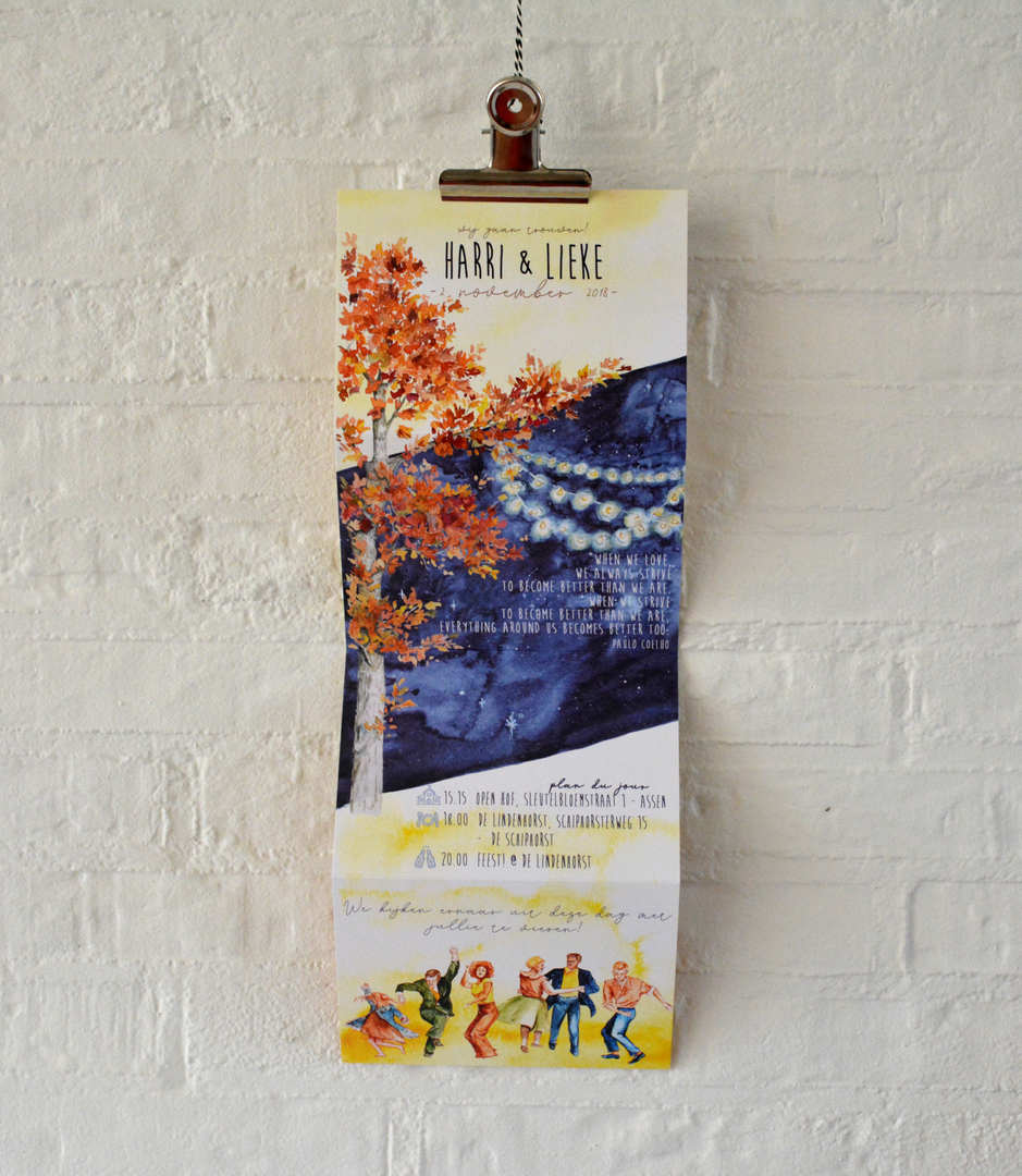 Watercolor fall wedding invitation