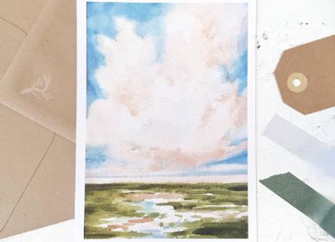 Fluffy cloud | postcard