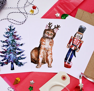 A kind-of-classic holiday set | illustrated postcards