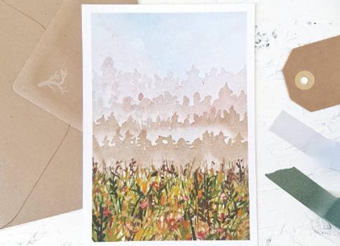 Misty pink field | postcard