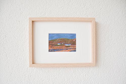 Blue houses in warm fields   Tiny original
