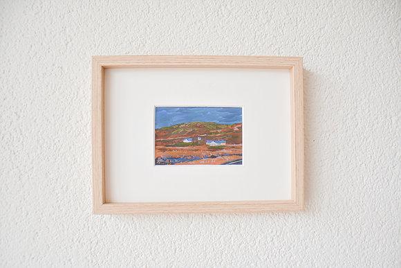Blue houses in warm fields | Tiny original