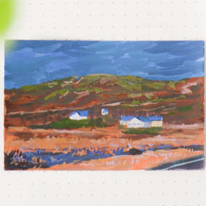 'Blue houses on warm fields'