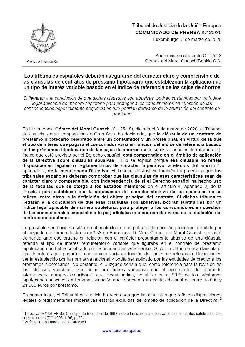 Sentencia IRPH del 03 de mazo 2020