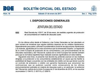 Real Decreto 2017, guía practica para reclamar la cláusula suelo de su hipoteca