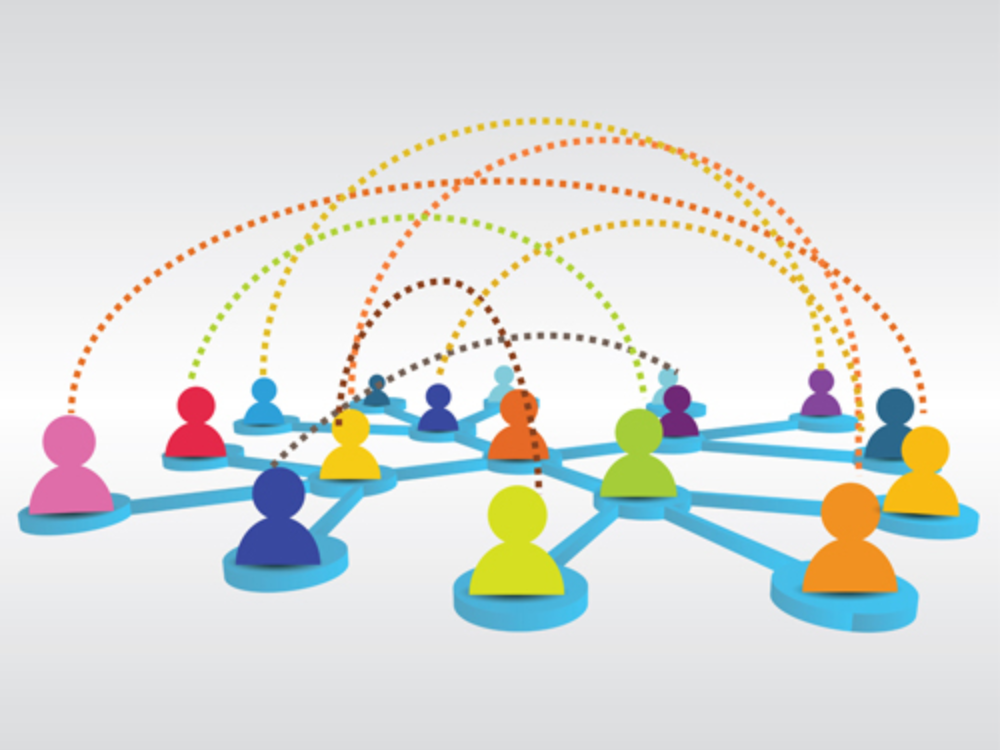 Business network showing collaboration