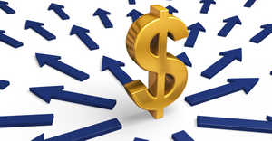 A bright, gold dollar sign stands in the center of a multitude of blue arrows  | Optimizing Your Current ERP System vs Purchasing New Software