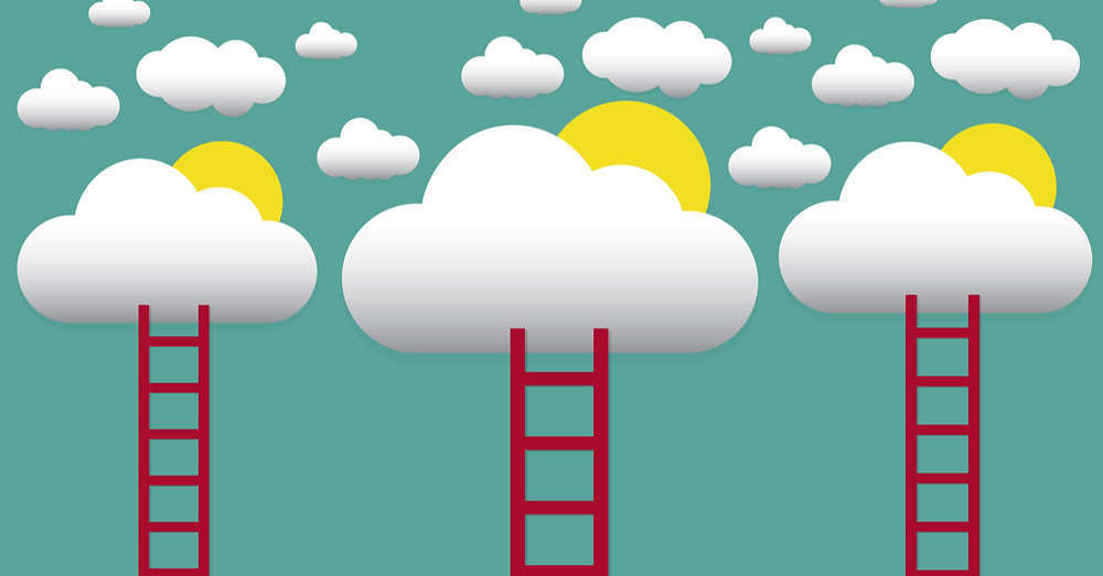 clouds and sun with ladders | On-premise, private cloud, public cloud, or hybrid cloud?