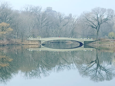 Bow Bridge in Central Park with releflection from the lake