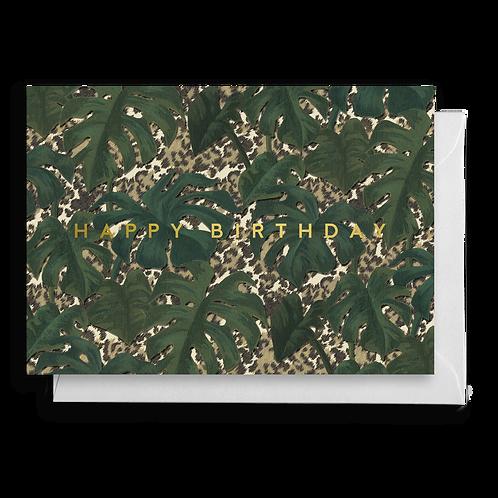 Monstera Leaf Animal Print Birthday Card