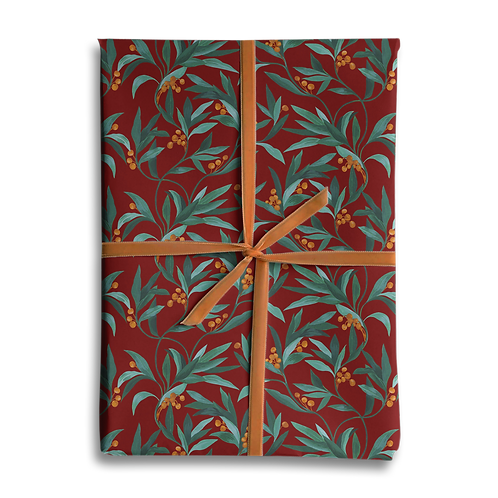 Vintage Berry Christmas Wrapping Paper Red