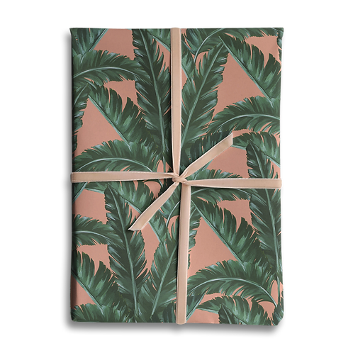 Pink Banana Leaf Wrapping Paper