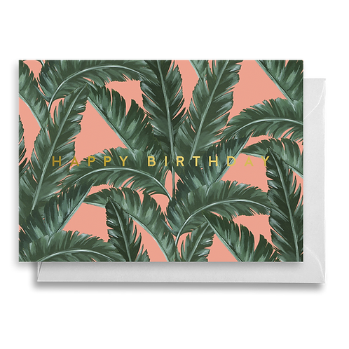 Tropical Pink Banana Leaf Birthday Card
