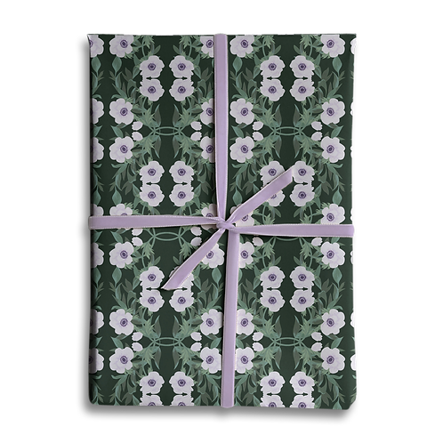 Dark Floral Anemone Wrapping Paper