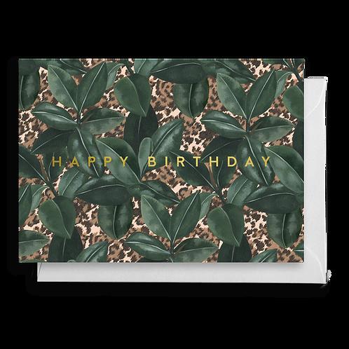 Rubber Leaf Plant Animal Print Birthday Card