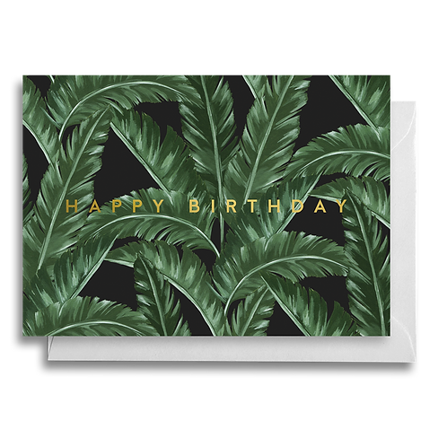 Dark Banana Leaf Birthday card