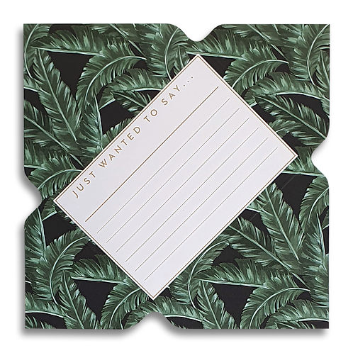 Tropical Palm Leaf Telegram Notecard