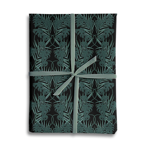 Dark Tropical Monstera Palm Leaf Wrapping Paper