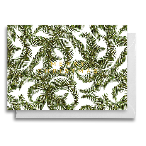 Green Leaf Foliage Christmas Card