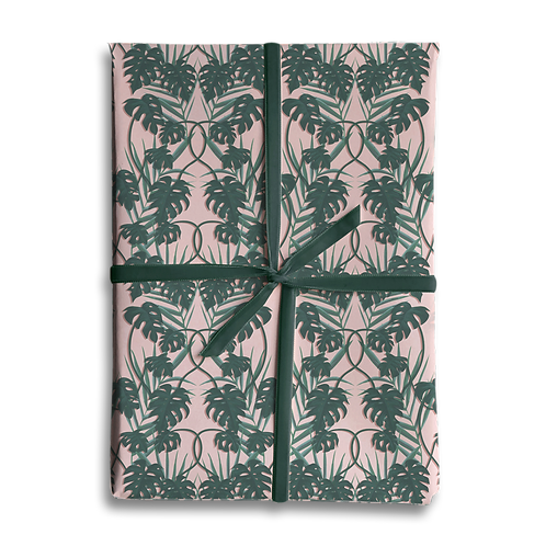 Pink Monstera Palm Leaf Wrapping Paper
