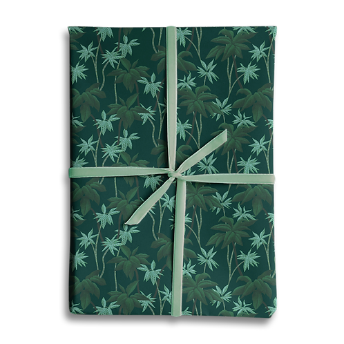Tropical Jungle Palm Wrapping Paper Green