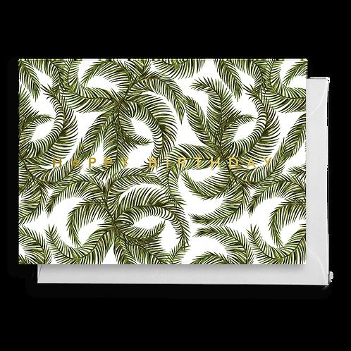 Tropical Palm Leaf Birthday Card