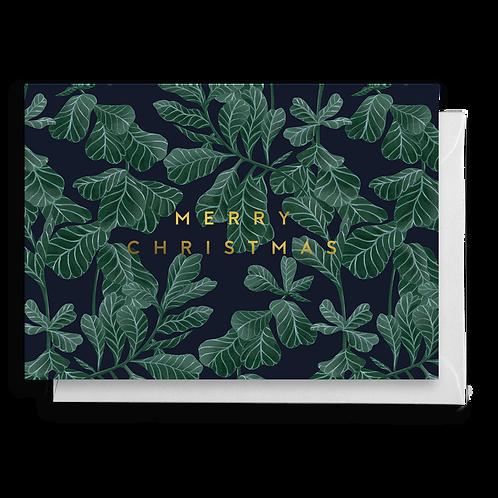 Green Leaf Christmas Card