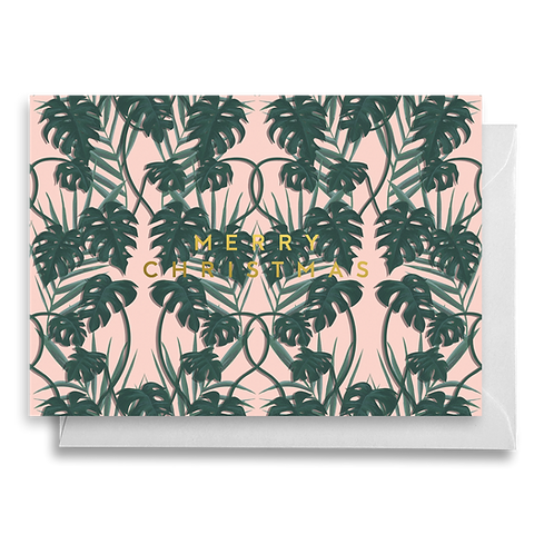 Tropical Pink Monstera Christmas Card