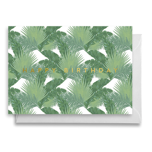Tropical Mixed Palms Birthday Card