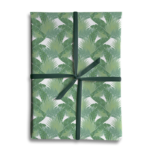Mixed Tropical PalmLeaf Wrapping Paper