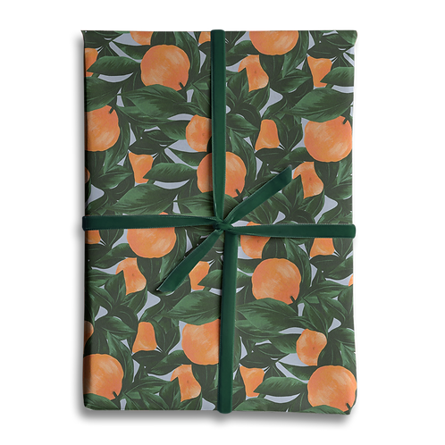 Orange Fruit Leaf Wrapping Paper
