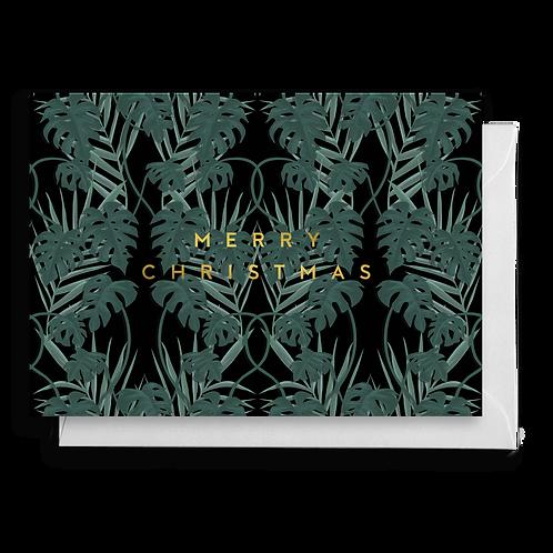 Dark Tropical Monstera Christmas Card