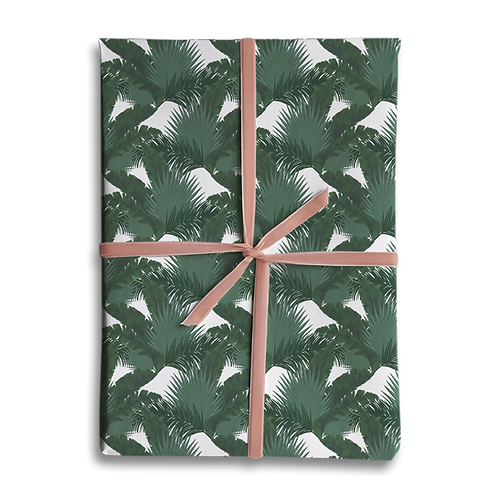 Dark Mixed Tropical Palm Leaf Wrapping Paper