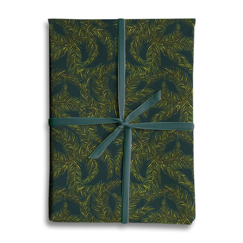 Dark Foliage Leaf Wrapping Paper