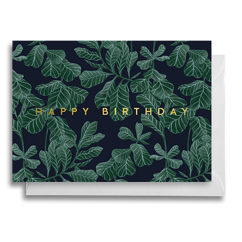 Dark Fiddle Leaf Fig Birthday Card